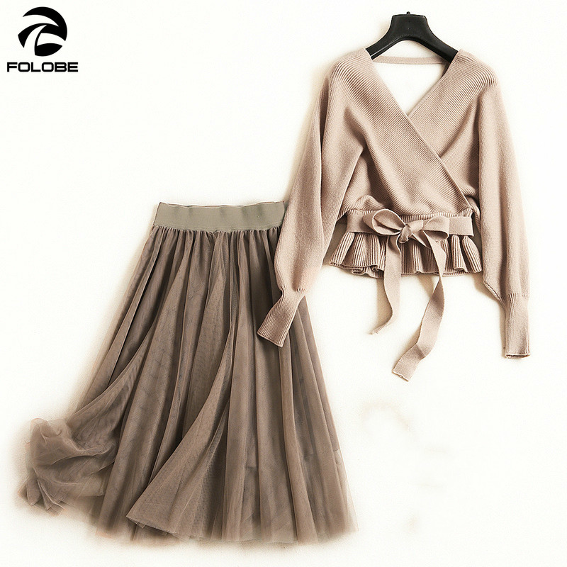 c9700039f6 FOOBE Women fashion V-neck knit sweater tops backless sashes mesh tutu  skirts suits long skirt 2 piece set new 2019 ~ Super Deal July 2019