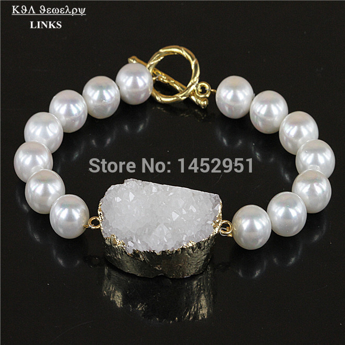 Natural Crystal Druzy Stone Bracelet White Quartz And Round Pearl Beads Stretch Jewelry Bracelets For Women Pulseral Mujer In Charm From