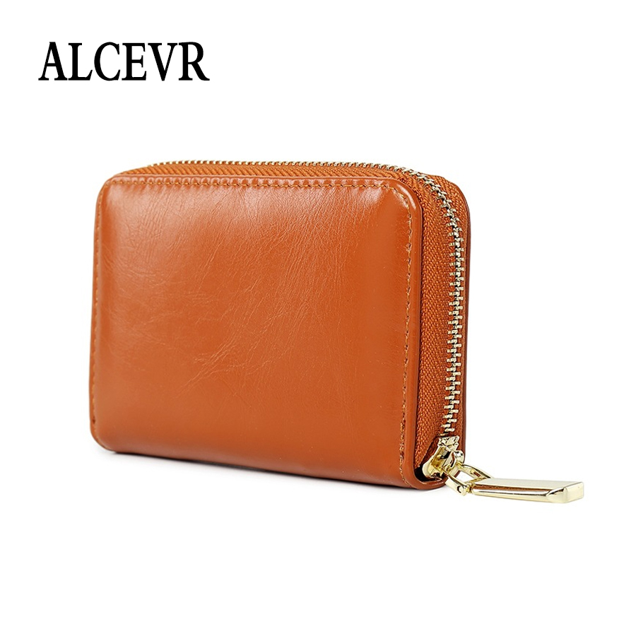 ALCEVR Small Soft Oil Wax Pu Leather Wallets Solid Color Card Coin Bags Simple Style Cute Candy Color Ladies Mini Money Purses