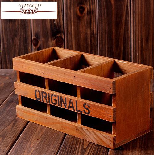 Home Decor Storage Boxes: Zakka Wood Box Vintage Home Decor Tool Storage Pen Holder
