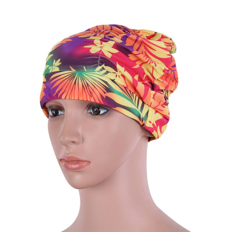 New Lady Summer Swiming Wear Drape Stretch Long Hair Swim Caps Hat Bathing Cap Swimming Hat Star Floral Pattern