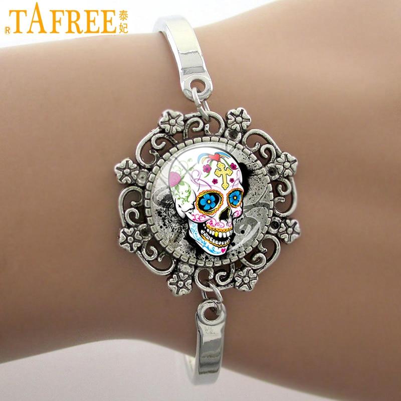 TAFREE Fashion Sugar Skull Skeleton Glass Dome Lace Charm Bracelet New Design Silver color Bangle High Quality jewelry SK06