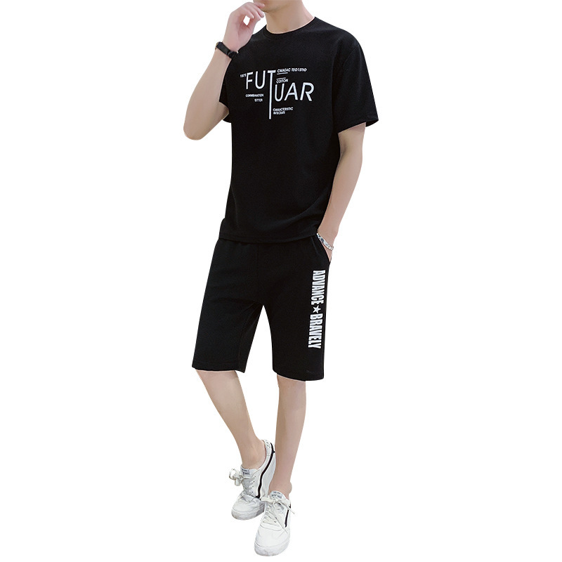 New Fashion Sporting Suit Men T Shirt Short+Shorts Pants Men Summer Letter Print Tracksuit Plus Size M-4xl Men Clothing Outfit