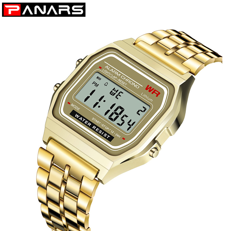 PANARS Women Men G Watch Gold SHOCK Retro LED Digital Sports S Square Military Wristwatches Electronic Digital Present Gift