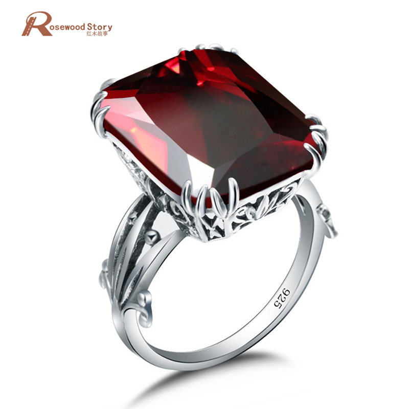 Classic Vintage Women Rings Created Garnet Stone Square Fashion Jewelry 925 Silver Engagement Wedding Bands Lady Luxury Ring
