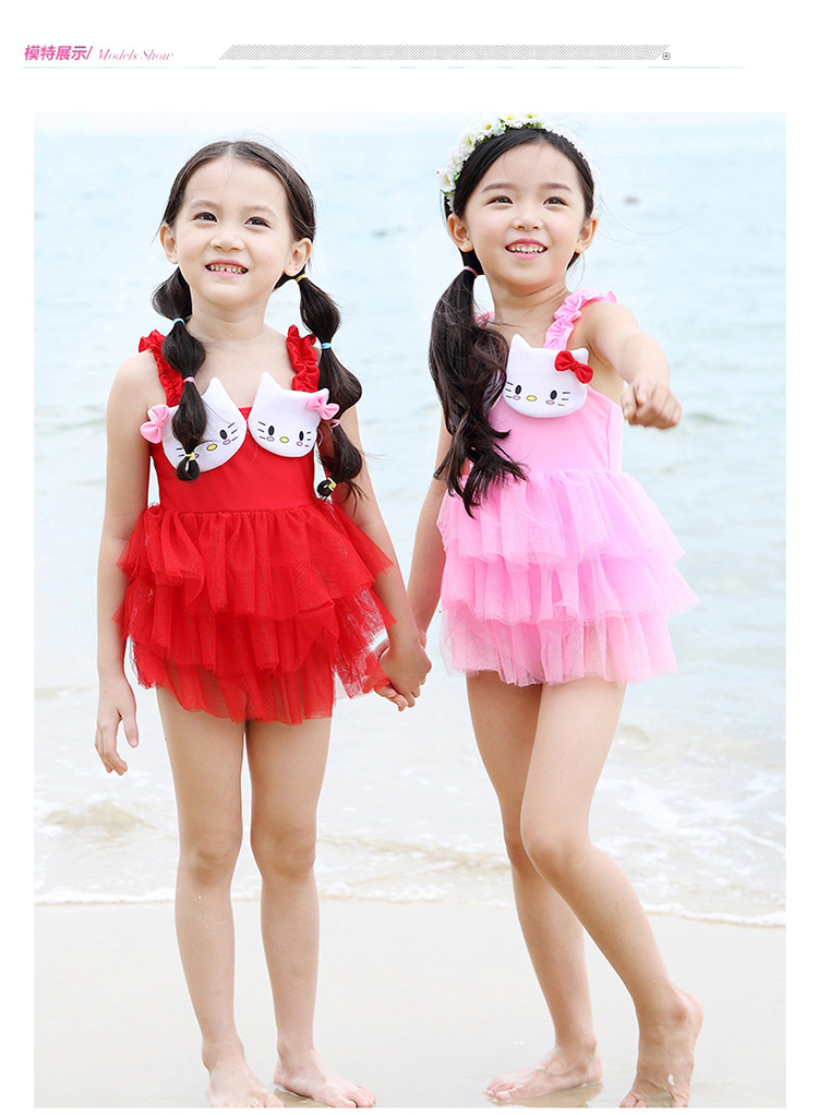 100% Quality Character Girls Swimwear Cat Design For Children Dress Style One Piece Swimsuit Kids Beachwear Bathing Suit Kw078 To Help Digest Greasy Food