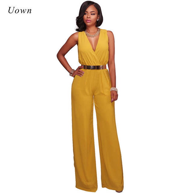 44a9cb754c0 Rompers Womens Jumpsuit 2018 Fashion Long Pants Rompers Overalls Belt Sexy V  Neck Sleeveless Wide Leg Jumpsuit Combinaison Femme