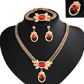 Rose Gold Plated Red crystal Jewelry Set Red crystal necklace/Earrings/brooch/bracelet for Women Wedding Jewelry Sets MIN003