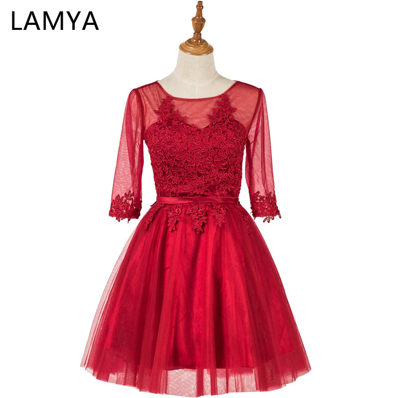 LAMYA Red Short Chiffion Lace Prom Dress 2018 Customized Real Photo Fashion Sweetheart Party Gown Dresses With Sleeve