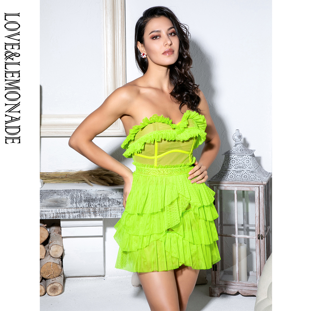 LOVE LEMONADE Sexy Fluorescent Green Laminated Ruffled Lace Panel Tube Top Party Dress LM81783