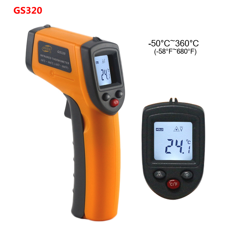GS320 GM320 GM900 Digital Thermometer Red Laser Infrared Thermometer Non-Contact IR Pyrometer LCD Temperature Meter Gun Point