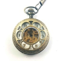 Bronze Hand Wind Mechanical Pocket Watch With Chain For Men Man Vintage White Face 2016 Steampunk
