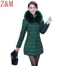 Новый Женский Slim Down ватник меховой воротник длинная куртка утолщение большой ярдов мать платье пальто