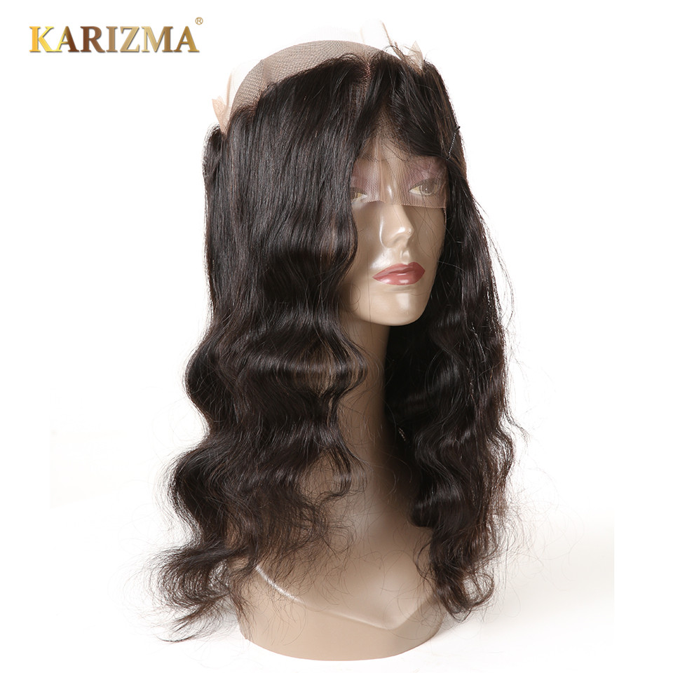 Karizma Body Wave Pre Plucked 360 Lace Frontal Closure With Baby Hair 100 Remy Human Hair