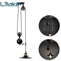 Litake Retro Up down Lift Pulley Iron Chandelier Lamp Elegant interior decoration Without Bulb
