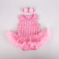 newborn baby girl clothes rose baby infant clothing baby girl Pettiskirt tutu   romper   with matching headband