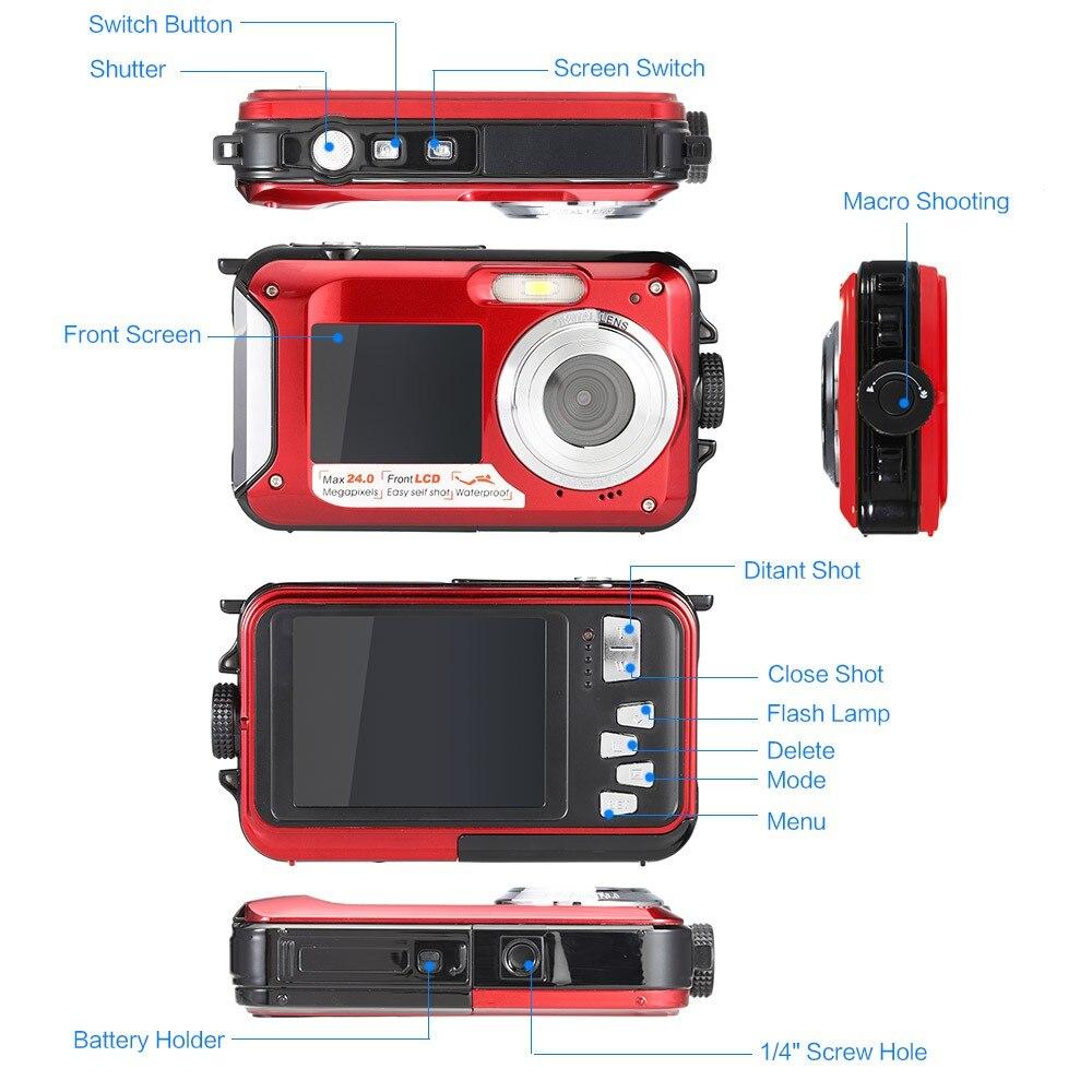 Freeshipping 24MP 1080P HD Waterproof Camera Digital Dual Screen ...