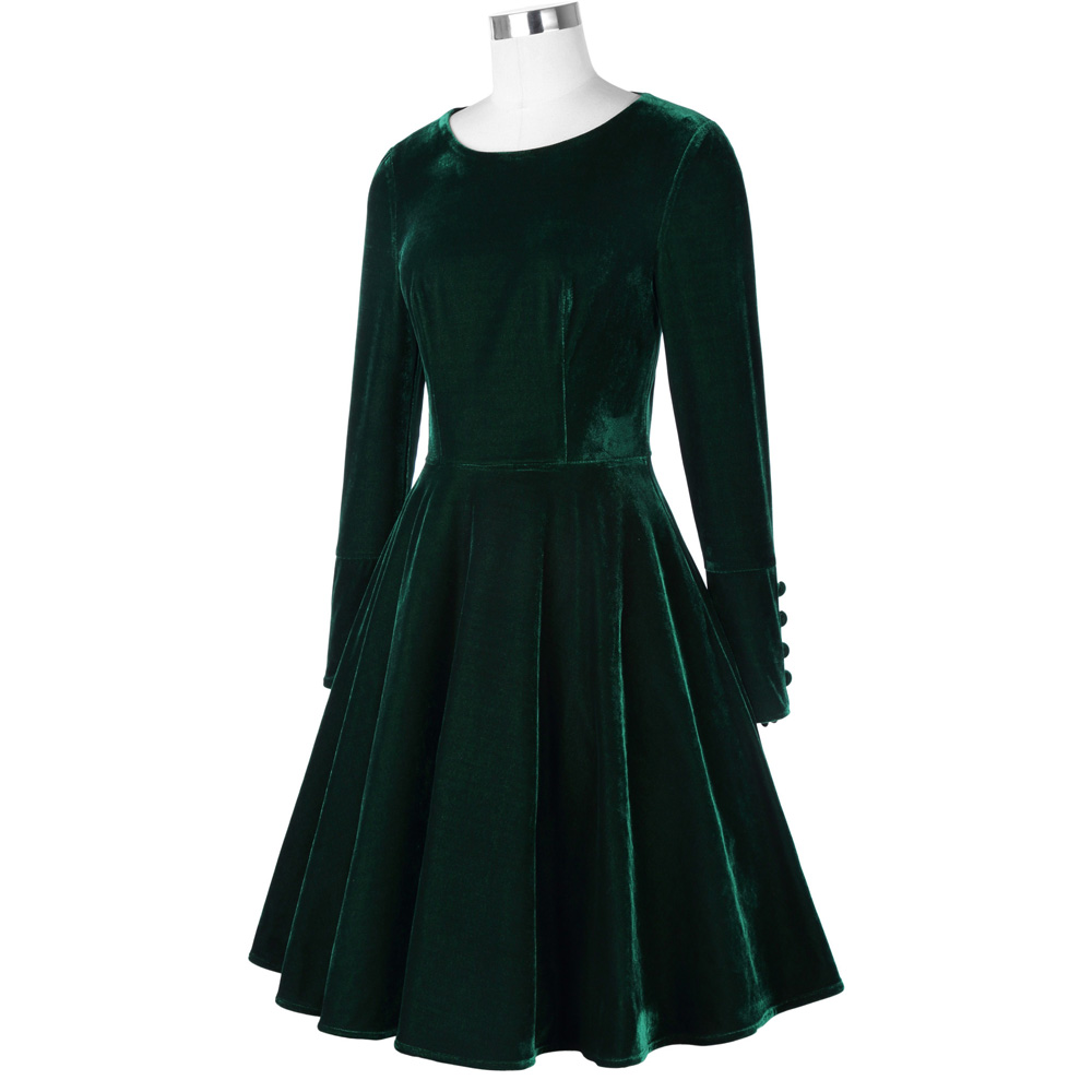 Belle Poque Fashion Women Dresses Office Green Vintage Tunic Female Vestidos Autumn Winter Long Sleeve Casual Velvet Swing Dress 8