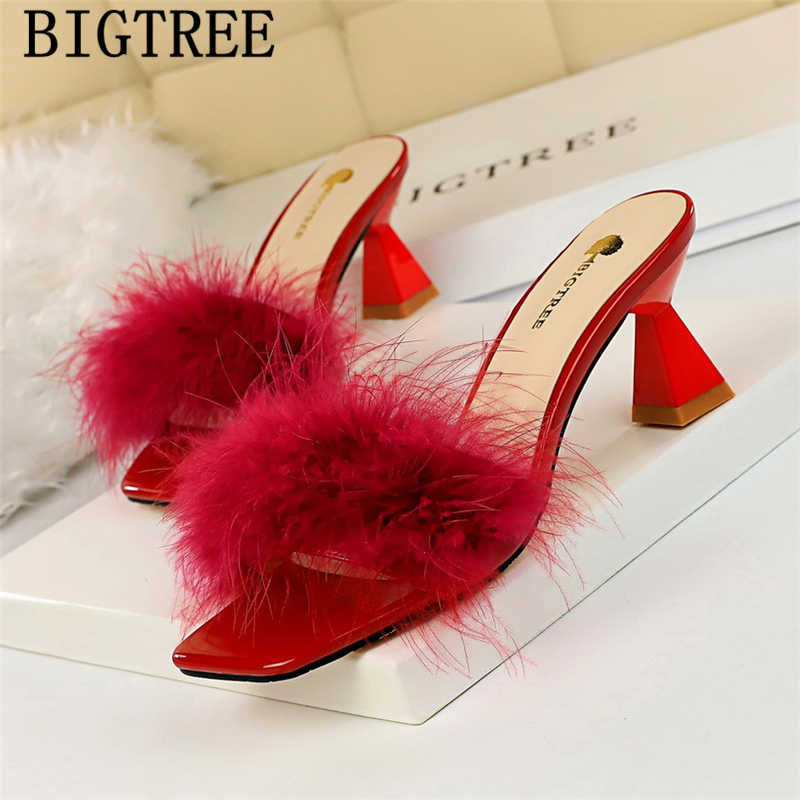 Mules High Heels Sandals Fur Slippers
