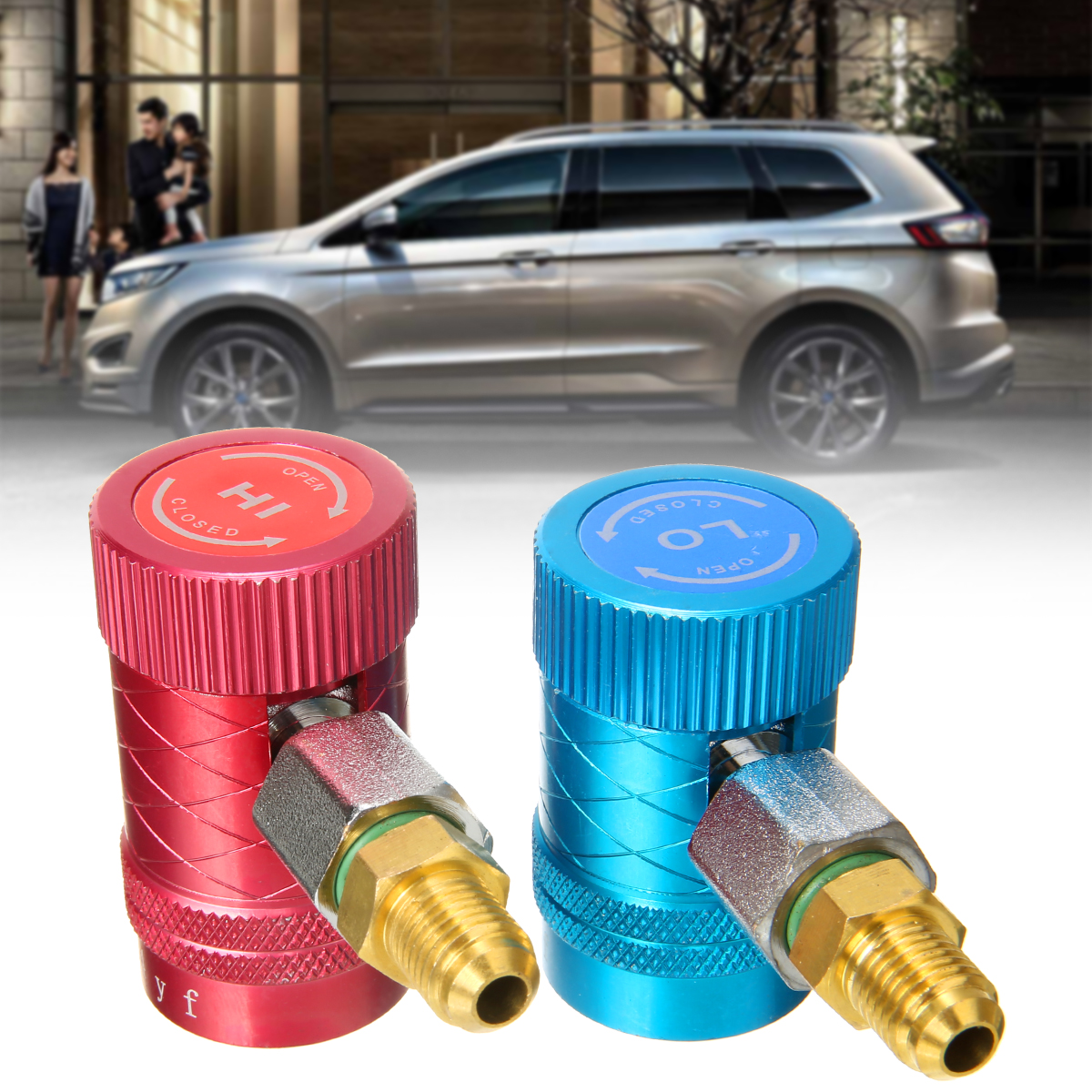 1 Pair R1234yf A/C Quick Adapter Fittings For Automotive Air Conditioning Adjustable Quick Coupler Connector
