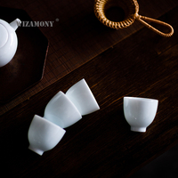 6PCS!!!!!! Speical Price!!!WIZAMONY Tea Cup Tea Set White Ceramic High Quality Bulk Price Chinese Porcelain Celadon Hat Bowl