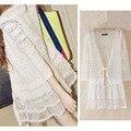 Frete Grátis & Atacado Moda de Nova Mulheres Casual Perspectiva Blusa de Renda Cardigan Solto Camisa Protetor Solar Proteger Bege Plus Size
