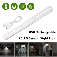 1X USB Rechargeable 20LED Motion Sensor Cabinet Night Light Bar Closet Light Lamp 2 Modes For Wardrobe Stair Kitchen Bedroom