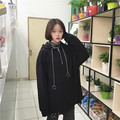 Korean Casual Women Clothes Loose Harajuku Ring Hooded BF Solid Color All-match Medium Long