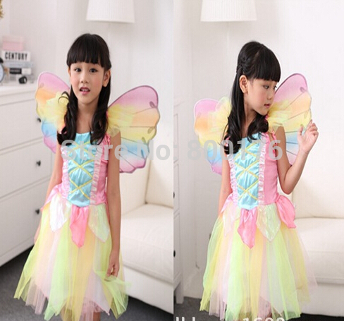 free shipping High Quality Kids Halloween Costumes For Girls Colorful Dress And Angel Wings fairy costume size S M L