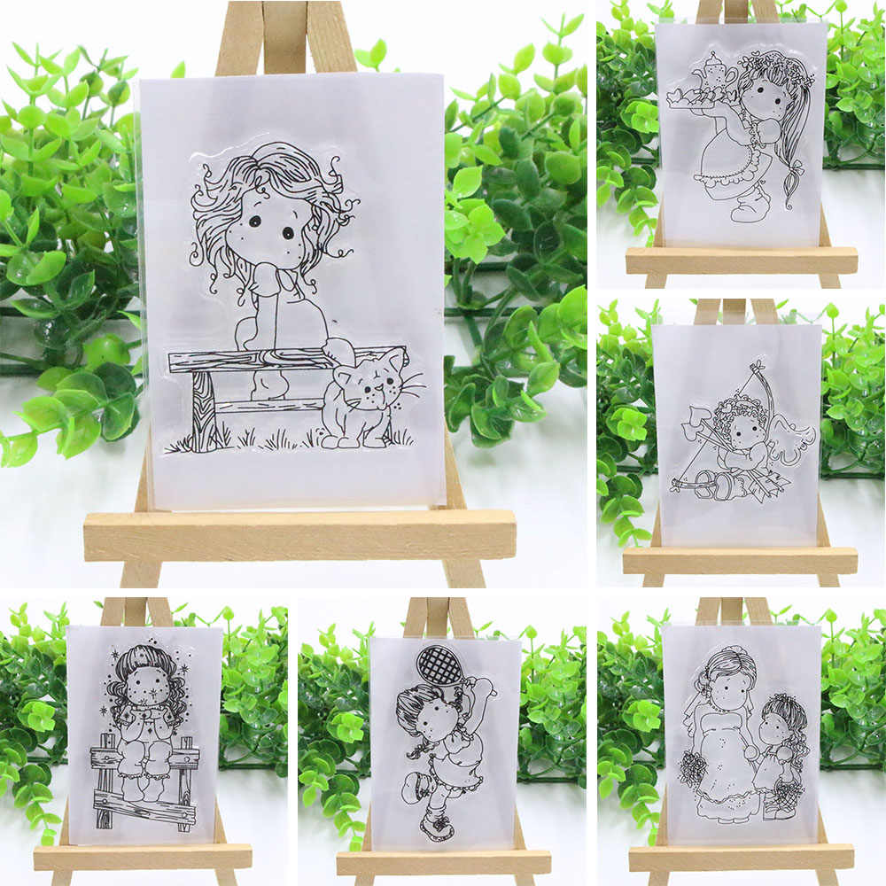 2018 New Lovely Girl Transparent Clear Rubber Stamp Silicone Scrapbooking DIY Photo Album Decor Paper Cards Craft Handmade Gifts