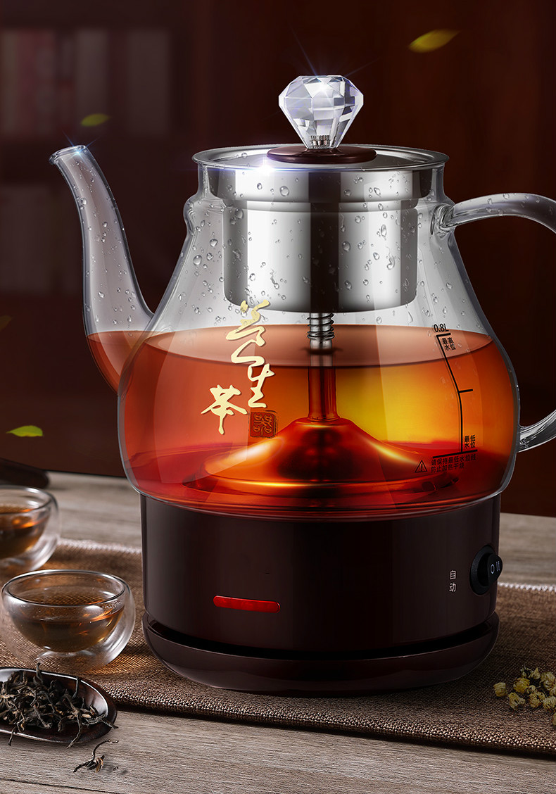 NEW Steam tea boiler glass household transparent automatic electric kettle steaming black infuser pu 'er high quality black tea flavor pu er waxy fragrant ripe tea slimming pu er green food 2016 new chinese mini yunnan puerh tea