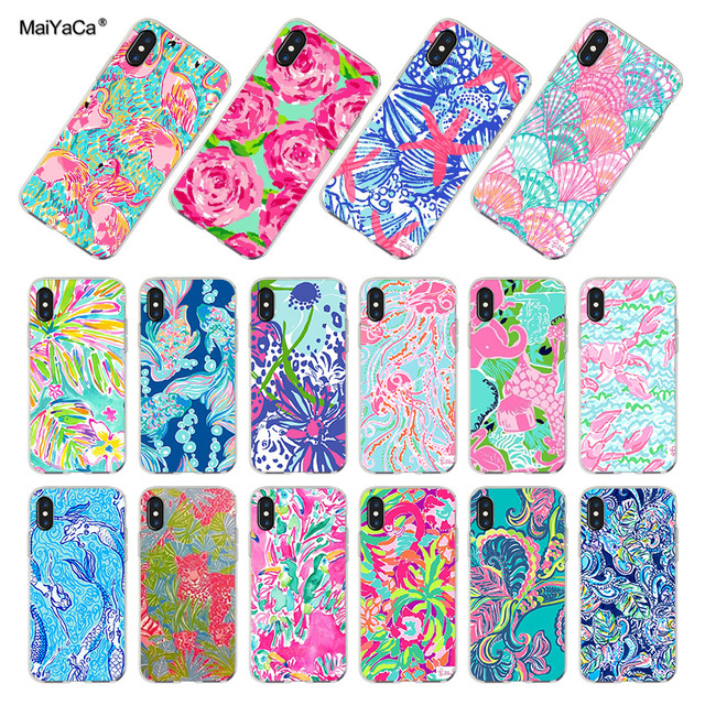 new styles 2edf2 736ea US $0.86 57% OFF|MaiYaCa For iphone XR XS MAX 7 8 Plus Lilly Pulitzer  Summer flower Pink Flamingo Rose Phone Case for iPhone 7 8 6S Plus 5S SE  -in ...