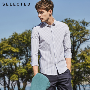 Image 4 - SELECTED new cotton striped mens slim business casual long sleeved shirt S