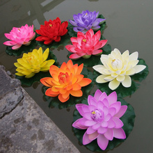 HINDJEF 1PCS17CM Garden Artificial Fake Lotus Flower Foam Flowers Water Lily Floating Pool Plants Wedding Decoratio