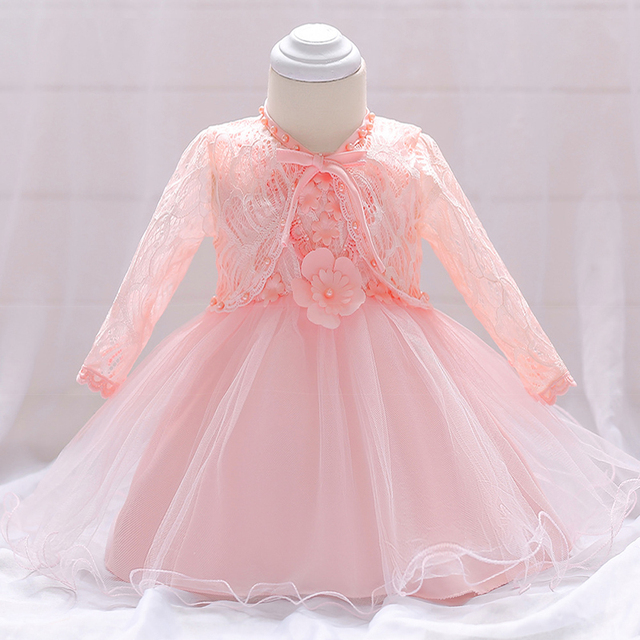 Baby Girl Dress Long 1 Year Old Birthday With Bolero Flower Decor Frocks Tulle Bebe Vestidos A015 Outfits