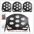 4pcs/lot  Wireless remote control  American DJ tri led par Flat SlimPar Tri 7x9w RGB Color Mixing DMX Light Uplighting