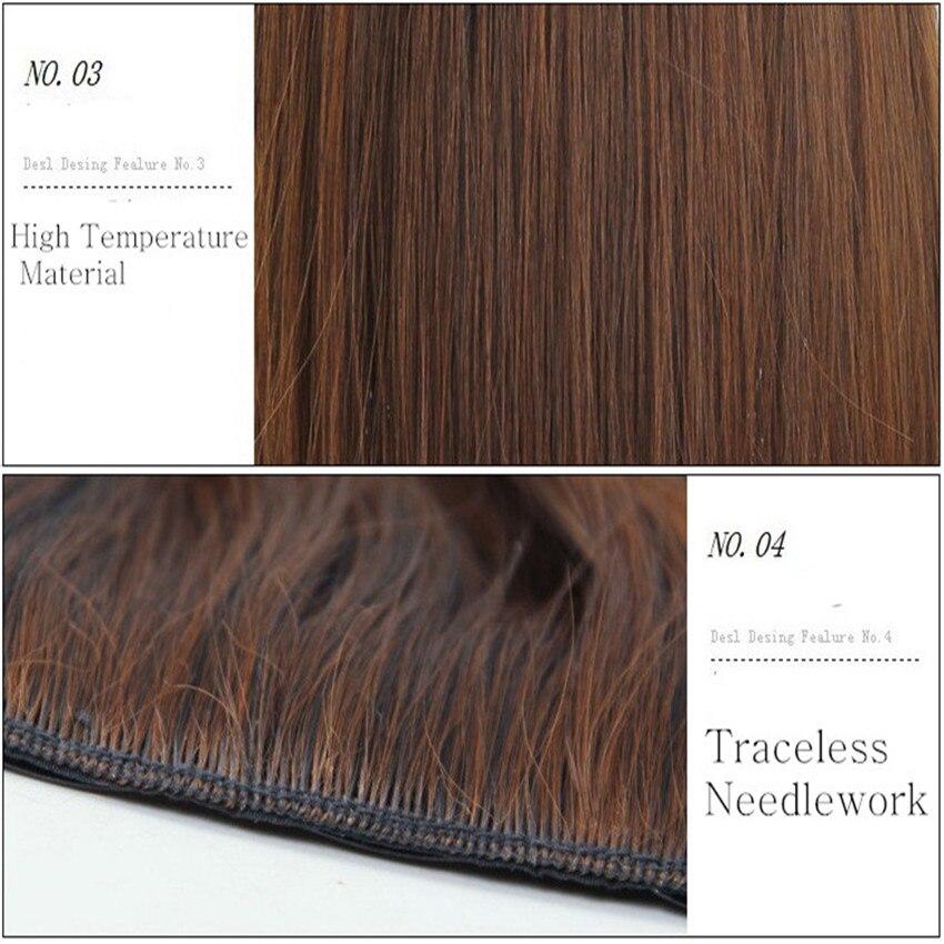 Feibin Clip In Hair Extension Syntetisk Hårstycke Lång 60cm 24 - Syntetiskt hår - Foto 6