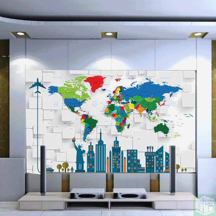 Online buy wholesale cartoon world map of the world large children free shipping english cartoon world map large mural children room wallpaper 3d lovely kindergarten wallpaper mural wall painting gumiabroncs Gallery