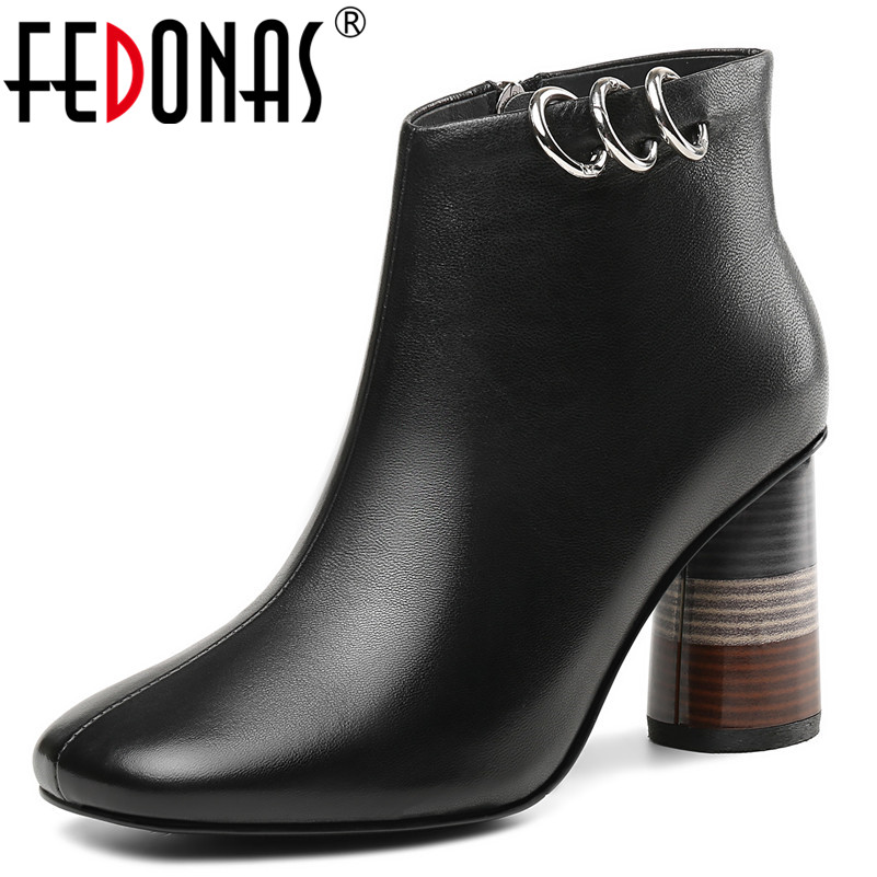 FEDONAS Punk Women Ankle Boots Metal Decoration Genuine Leather Basic Boots High Heels Short Martin Shoes Woman New Office Pumps fedonas brand women ankle boots punk high heels metal decoration party night club boots genuine leather martin shoes woman