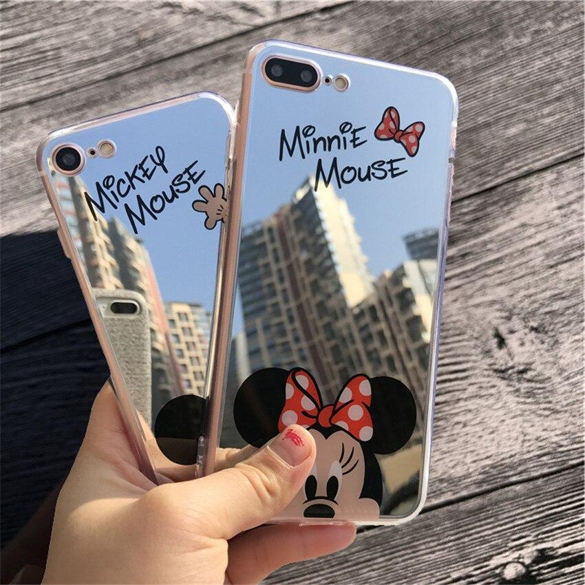 Espejo de dibujos animados Mickey Minnie Casos Para el iphone 7 Caso de la Galja