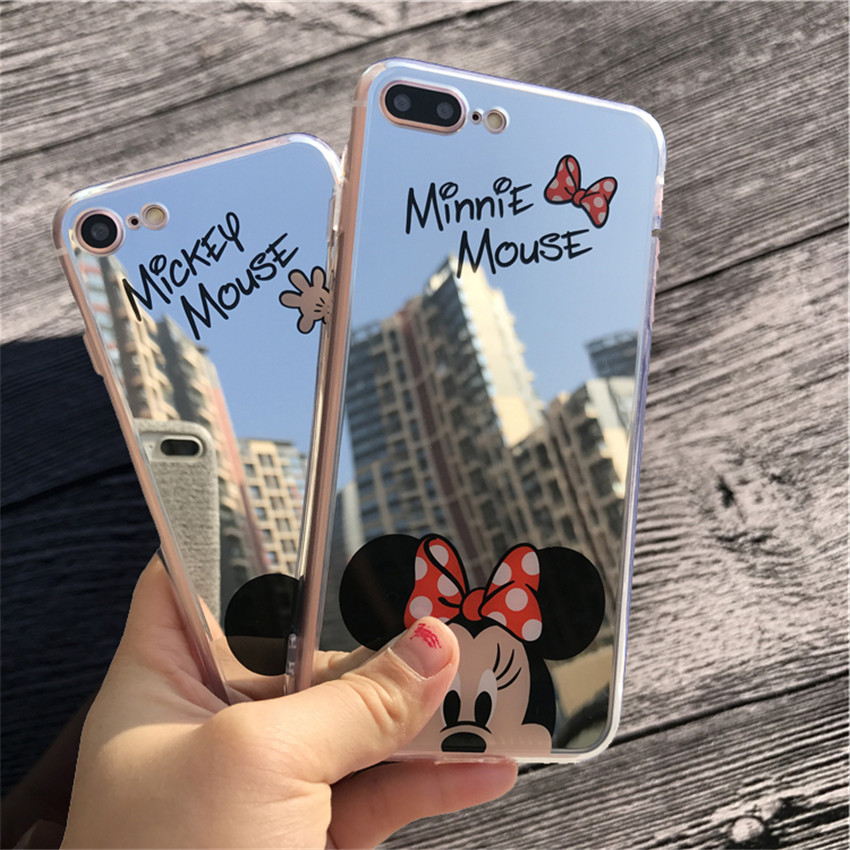 Mirror cartoon mickey minnie cases for iphone 7 6s 5s case for Coque iphone 4 miroir