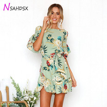 dress Promotion Ukraine Plus Size Summer Women Dress 2019 Floral Print Boho O-neck Short Sleeve Ruffle Mini With Belt Omighty huitan anniversary gift rings for women luxury long cubic zircon stone prong setting with cirrus manufacturer direct sale rings
