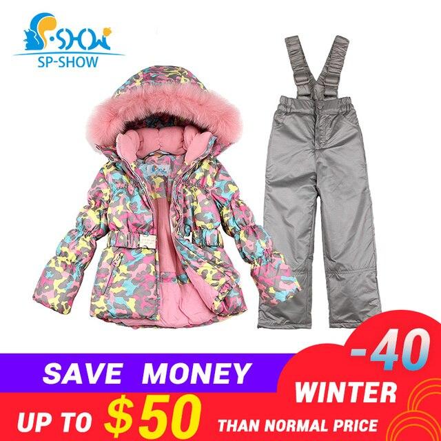 7f63be4612 BUY 1 SUIT GET 1 FREE SCARF -30 degrees SP-SHOW Winter 90% White down suit  nature fur hat Thick Warm Fleece Down suit Ski Suit