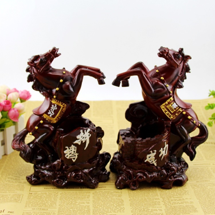 Environmental resin chinese style 24x13cm horse model pen hold arts craft,Office furnishings home desk decoration gift a1488