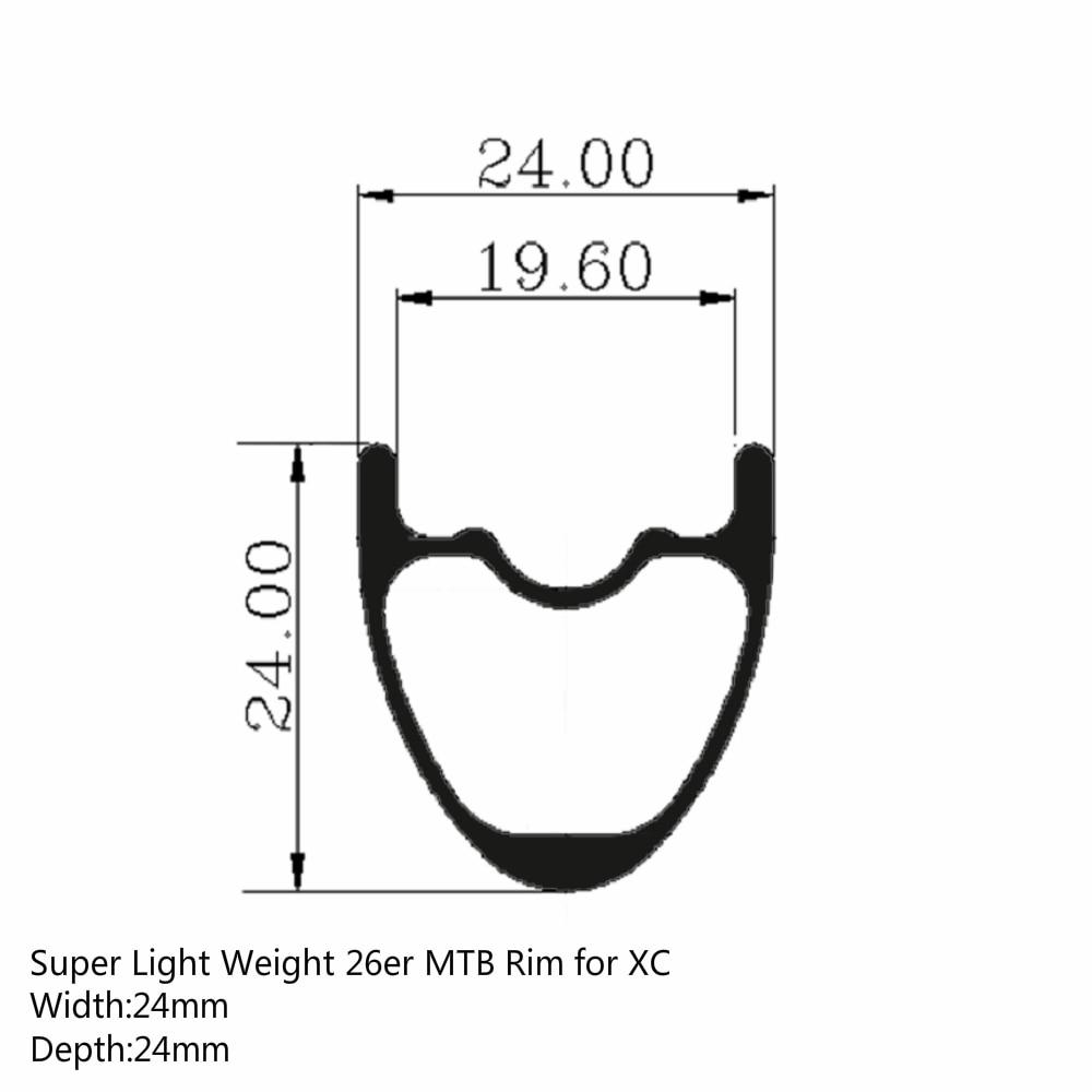цена на 26er MTB Rim Super Light Toray T700 Carbon Fiber Rims 24mm * 24mm Hookless Tubeless Ready For XC Cross Country Wheel