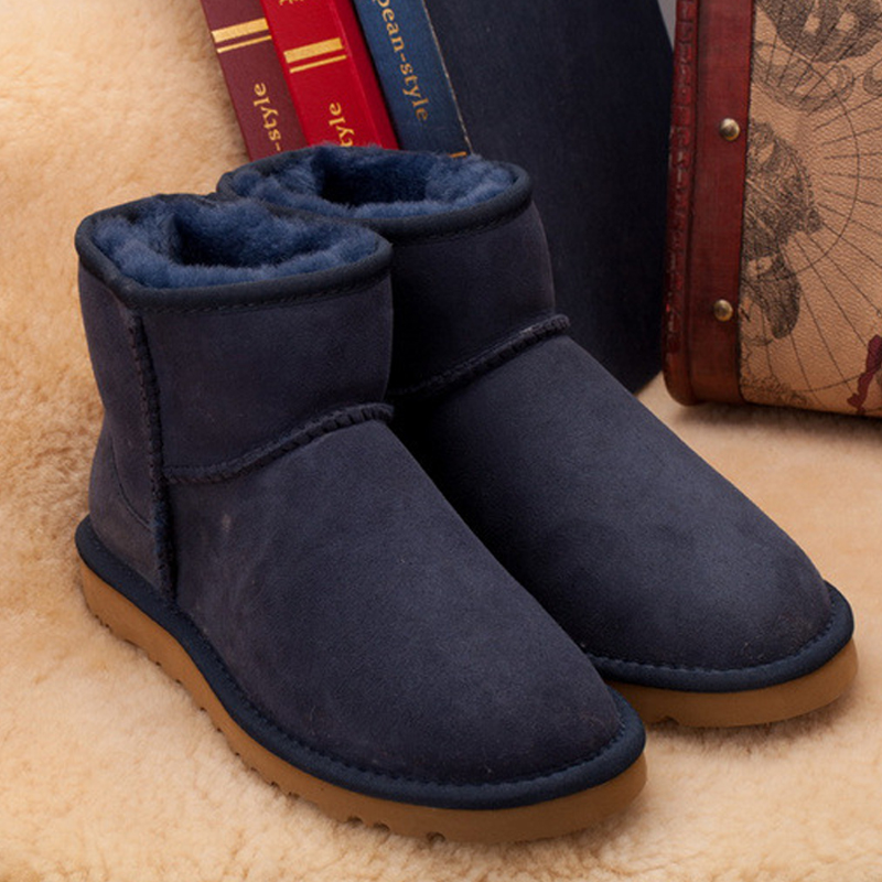 ФОТО Wholesale/retail ! 2017 new arrive Classic waterproof cowhide genuine leather mini snow boots warm shoes for women Free shipping