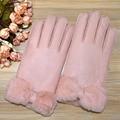 2016 новый стиль меховые перчатки для женщин зимние кожаные перчатки Бантом Сгущает Варежки