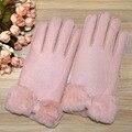 2016 nuevo estilo de piel guantes de mujeres guantes de cuero de invierno Bowknot Espesar Mitones