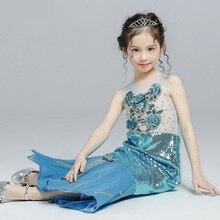 2019 Summer Princess Fishtail Girl Dress Blue Flower Three-dimensional Sequin Fabric Tutu