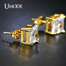 UMODE Brincos Gold Plated Post Stud Earrings For Women Jewelry With 8mm 2.5 Carat Asscher Cut Cubic Zirconia  AUE0187A